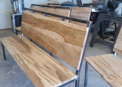 Ambrosia Maple bench by Coastal Live Edge Custom Furniture of Wilmington, NC