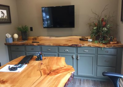 White Pine Table, Counter Top and Back-Splash at Muirhead Freeman, CPAs; Local Business Local Lumber!